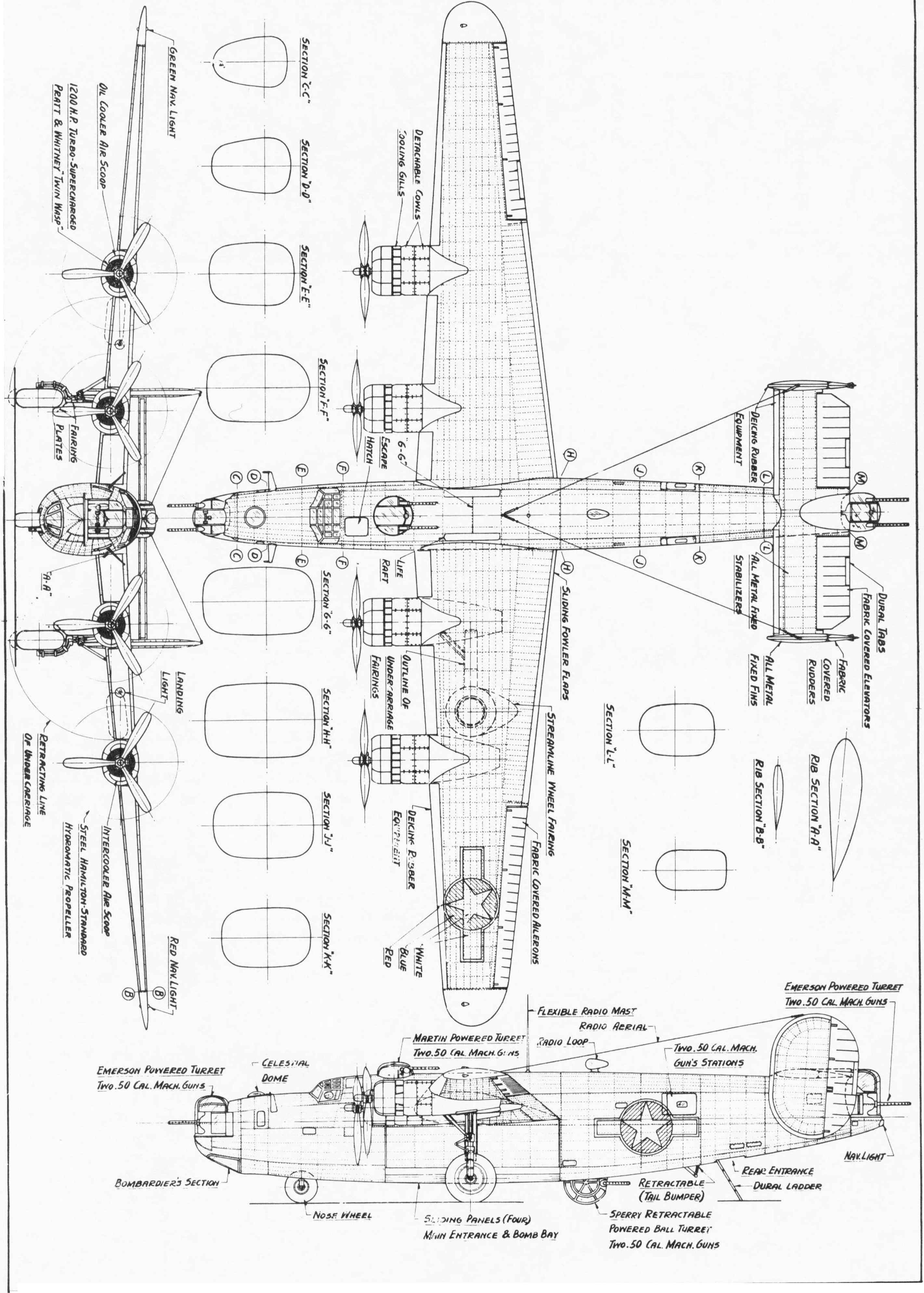 consolidated liberator - aircraft drawing