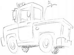 Top Down Vehicle Drawing Truck