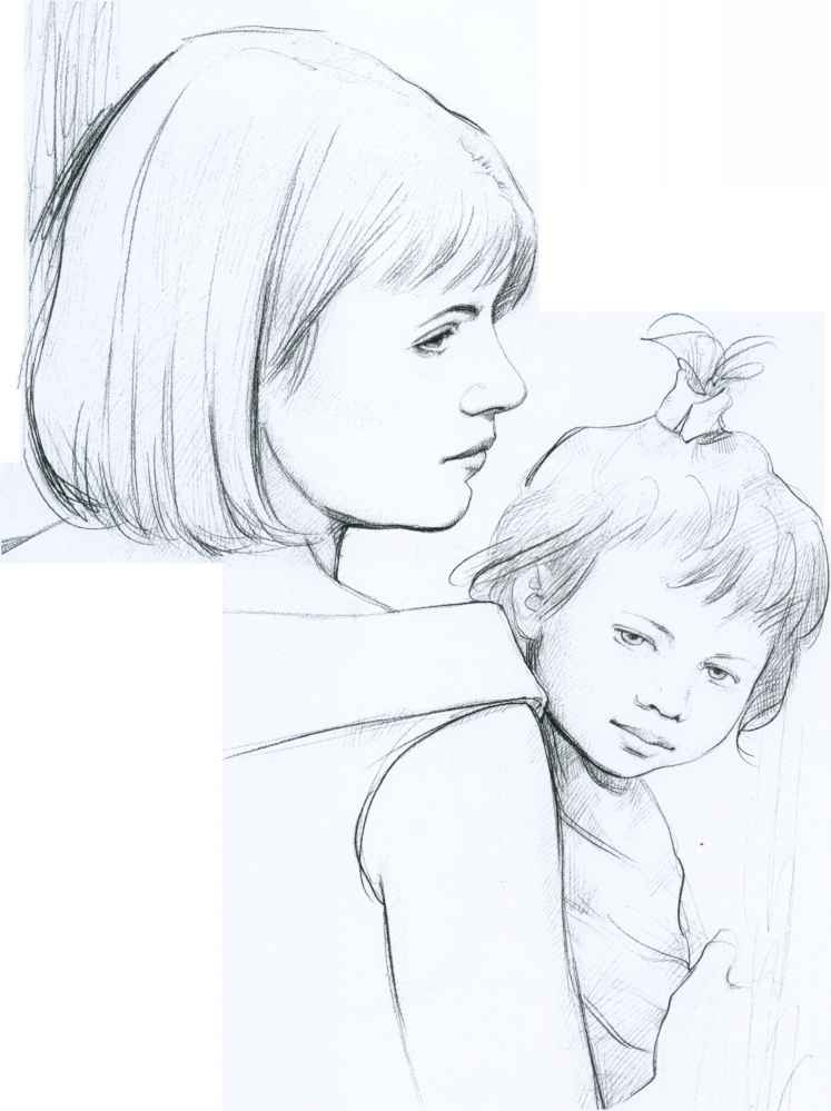 mother and daughter relationship sketches of eyes