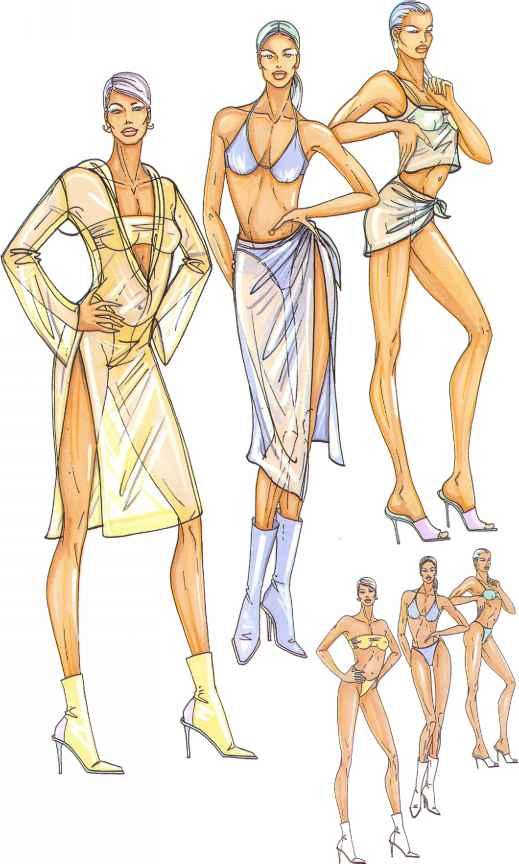 Drawing Fashion Women Models Templates