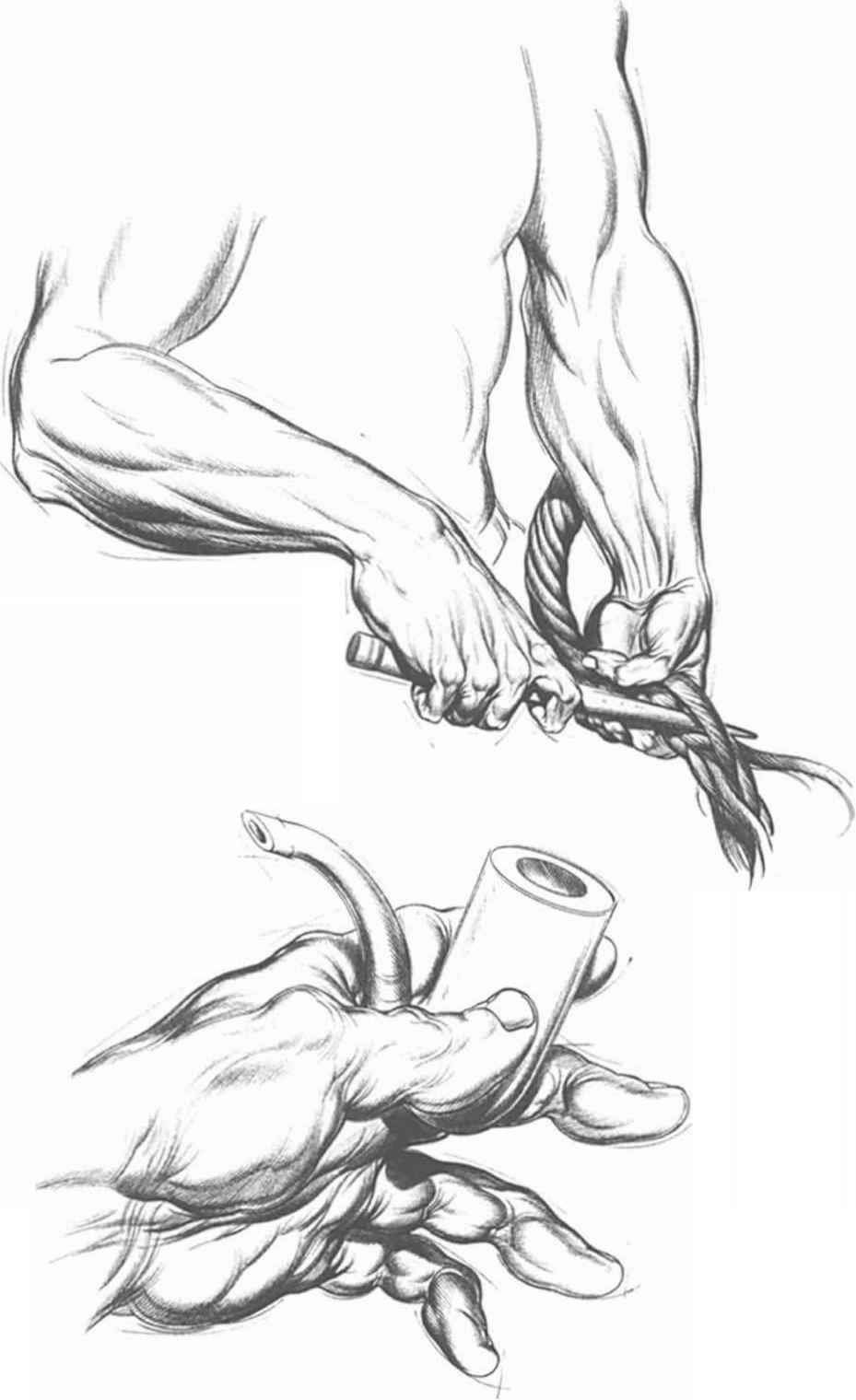hand actions with an inflexible object drawing hands