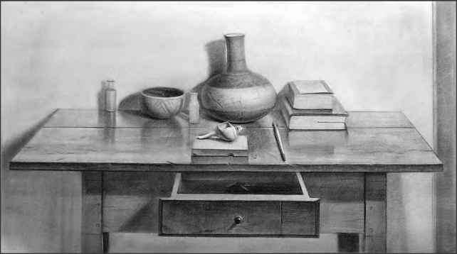 One Point Perspective Still Life Drawing