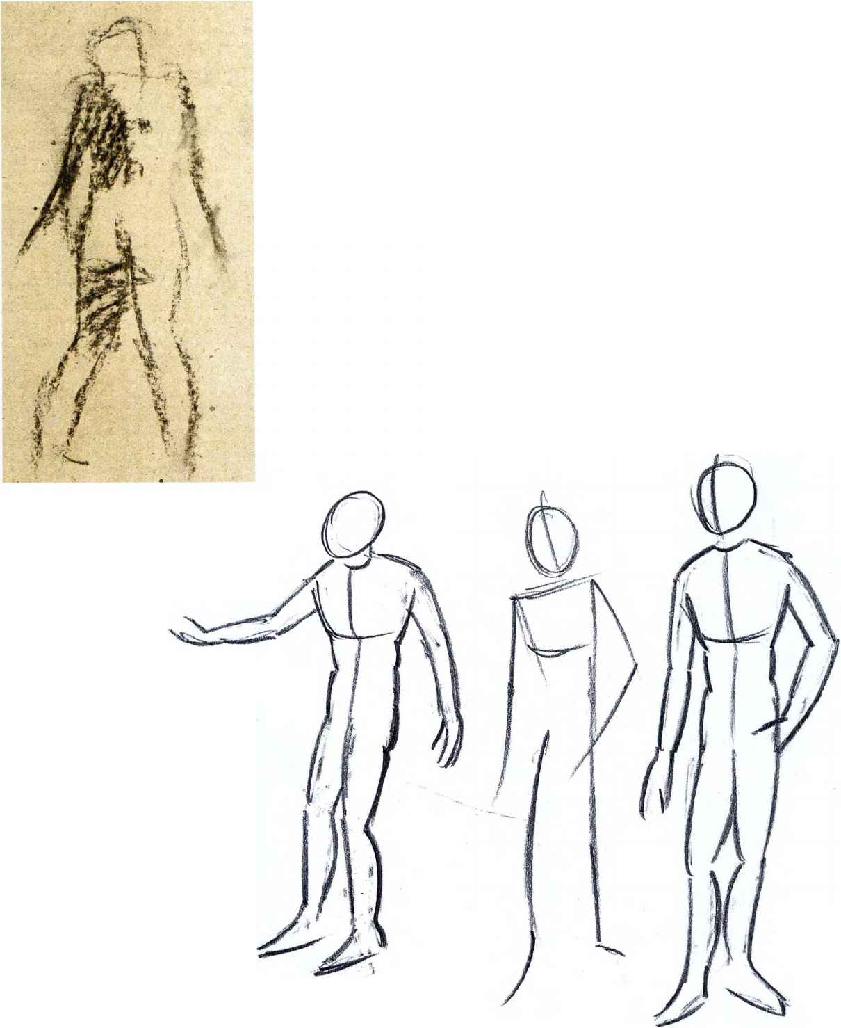 Drawing standing human figures