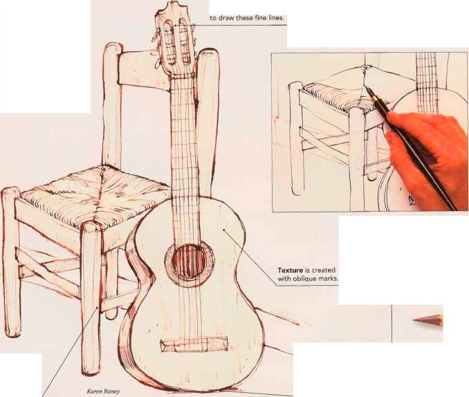Musical Guitar Still Life Drawing