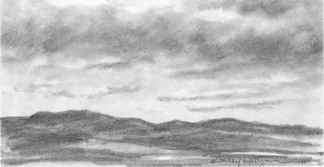 Mountain Range Pencil Drawing