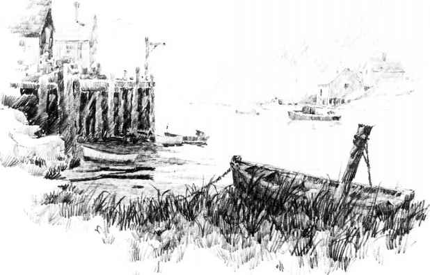 Harbour Pencil Drawing