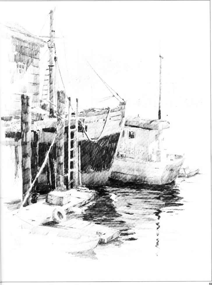 Boats The Harbor Drawn Pencil