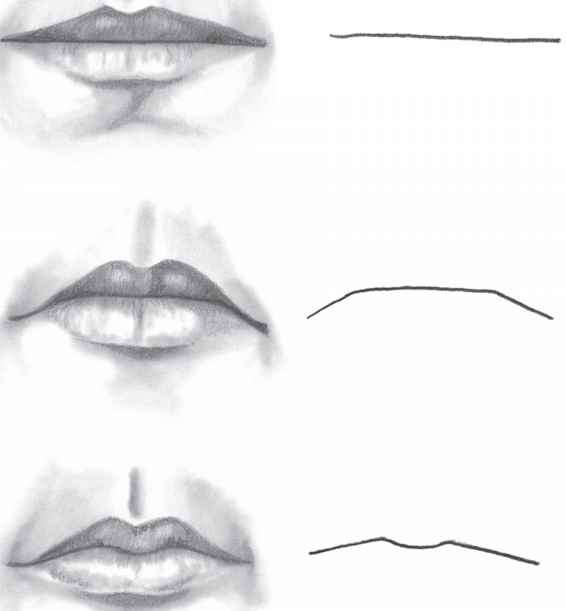Charcoal sketches lips drawing philtrum