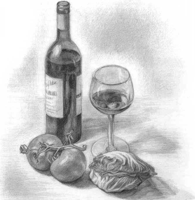 Observational Drawing Wine Bottle