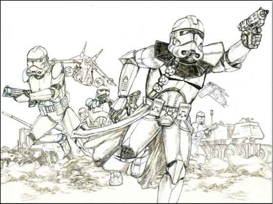 Drawing Starwars Battle Scenes