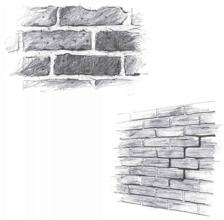 Different Pencil Sketches Bricks